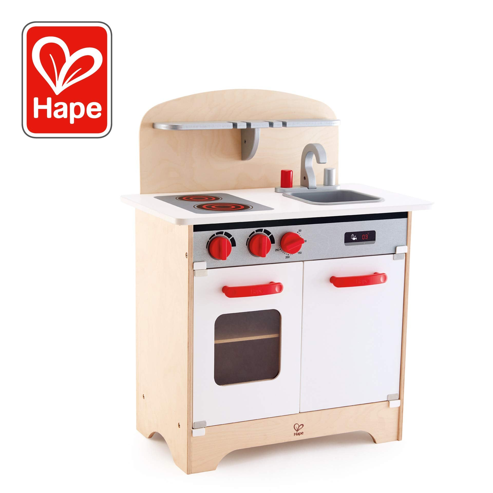 Hape Gourmet Kitchen Toy Fully Equipped Wooden Pretend Play Kitchen Set with Sink, Stove, Baking Oven, Cabinet, Turnable Knobs & Spice Shelf, White