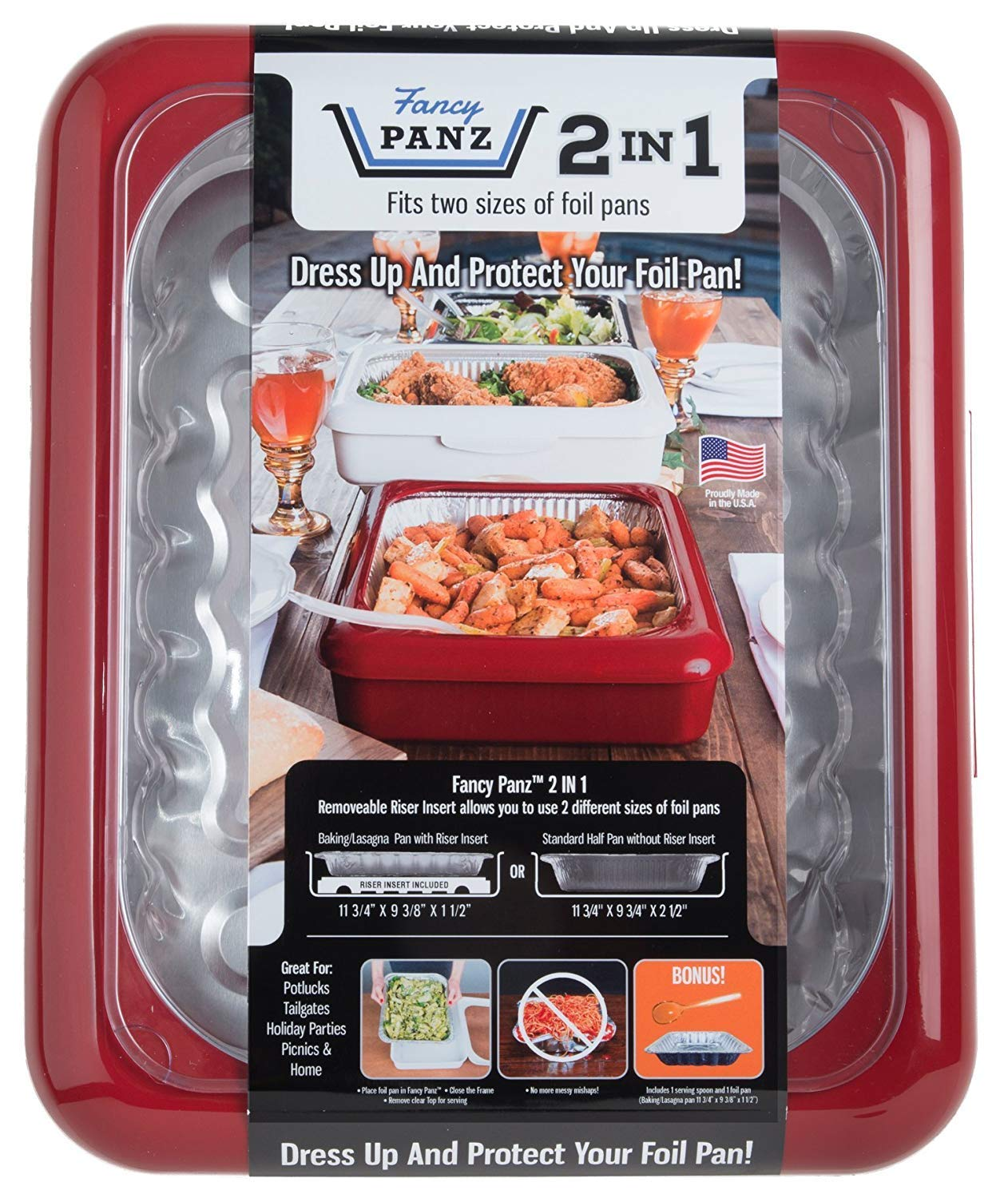 Fancy Panz FP21002 2 In 1 Portable Casserole Carrier for Indoor & Outdoor Use, Fits Shallow or Standard Half Size Foil Pans, Bonus Serving Spoon & Foil Pan Included, Red