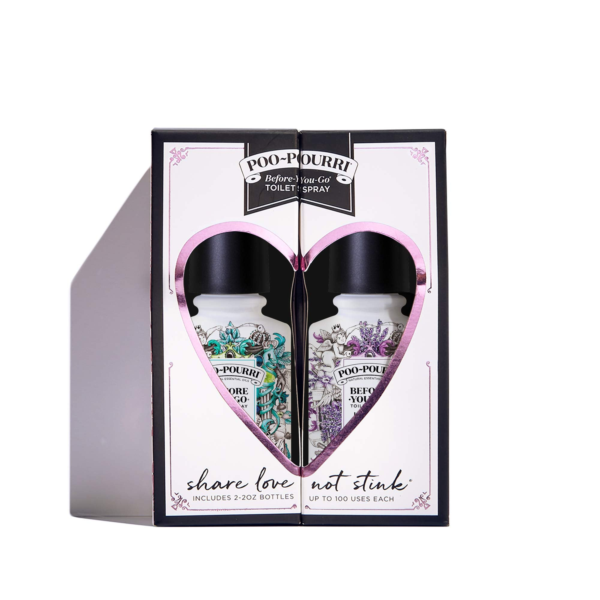 Poo-Pourri Before-You-Go Toilet Spray, Share Love Not Stink Set of 2, Vanilla Mint & Lavender Vanilla Scent