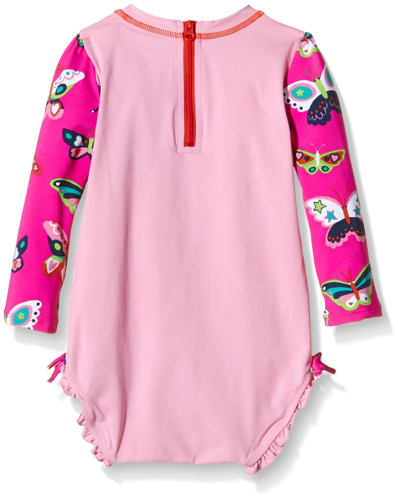 Hatley Girls' Electric Butterflies Rash Guard, Pink, 6-12 Months
