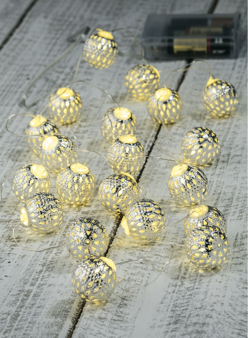 Sullivans Silver Ball Lights with Timer