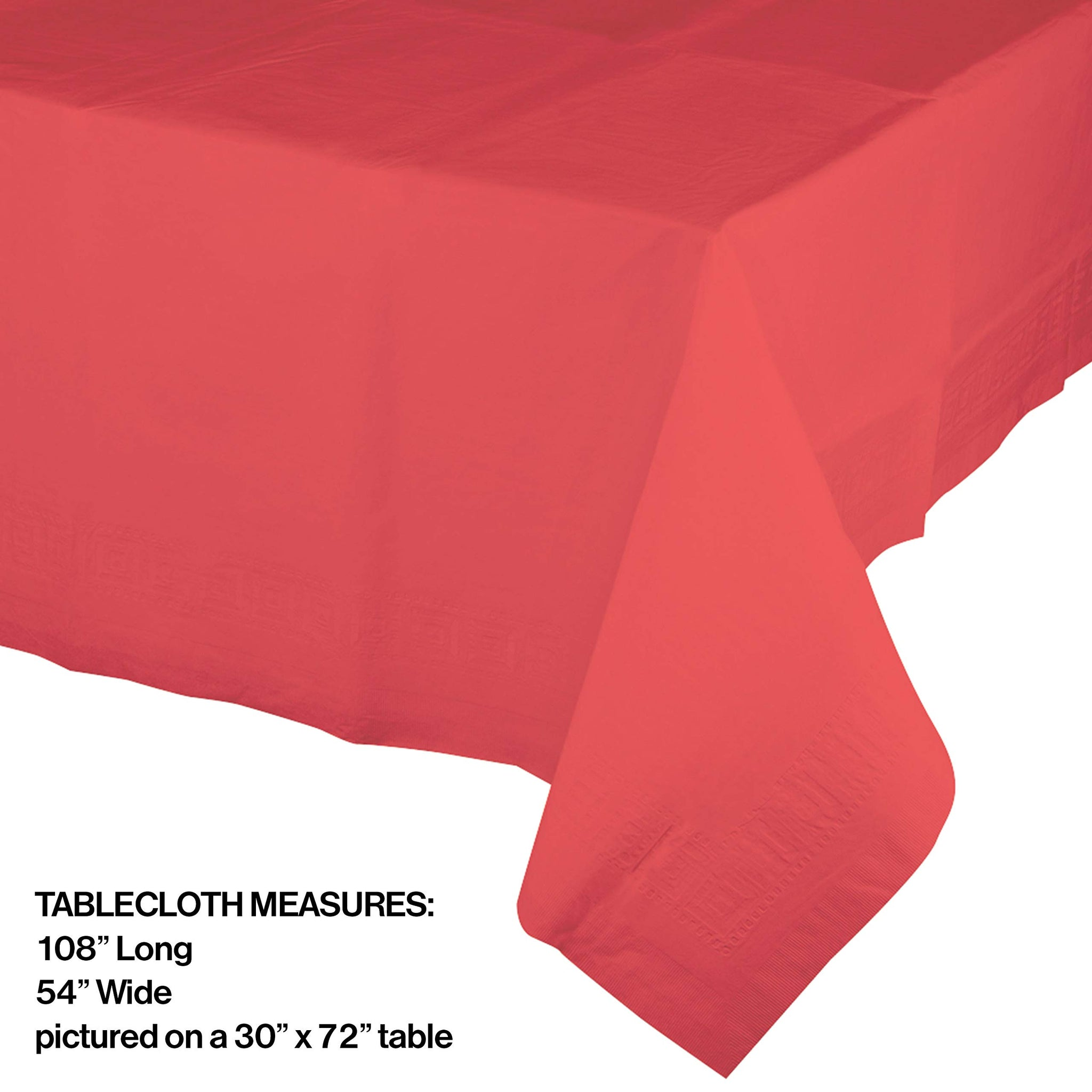 "Creative Converting 723146B Touch of Color Plastic Table Cover, 54 by 108"", Coral"
