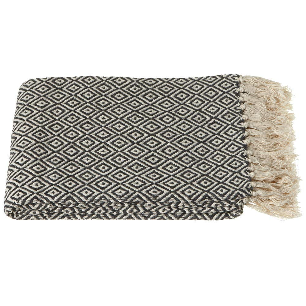 Midwest-CBK Ganz Charcoal Grey and Cream Diamond Pattern Throw
