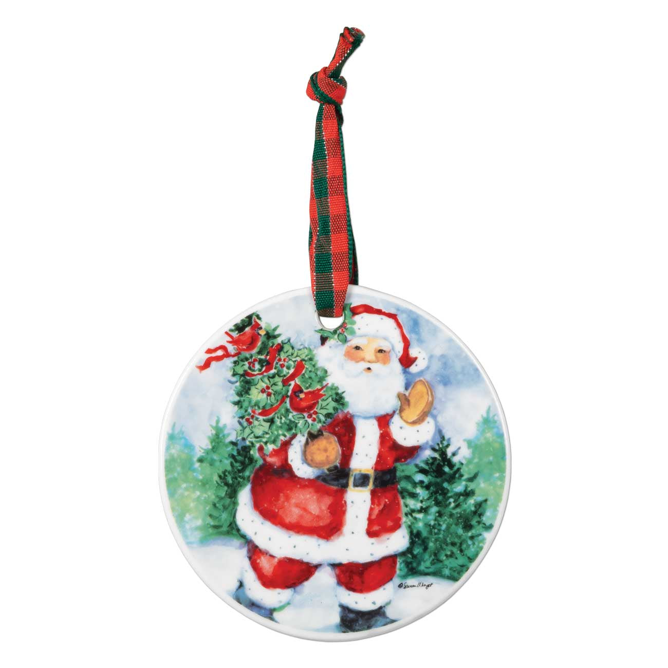 Brownlow Santa Waving Ceramic Ornament