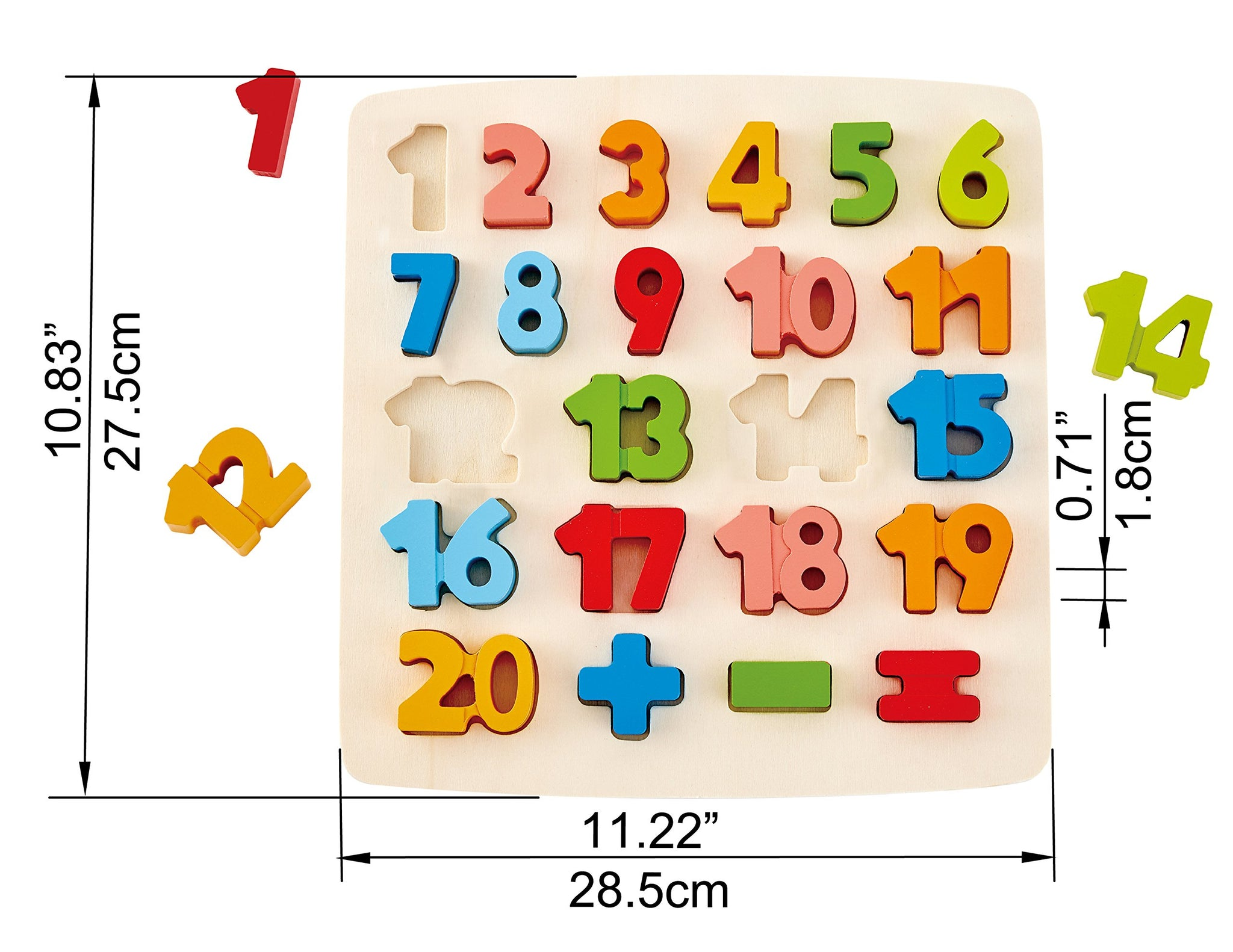 ODYSSEY Toys Hape Chunky Number Puzzle (10 Pieces), Multicolor, 5'' x 2''