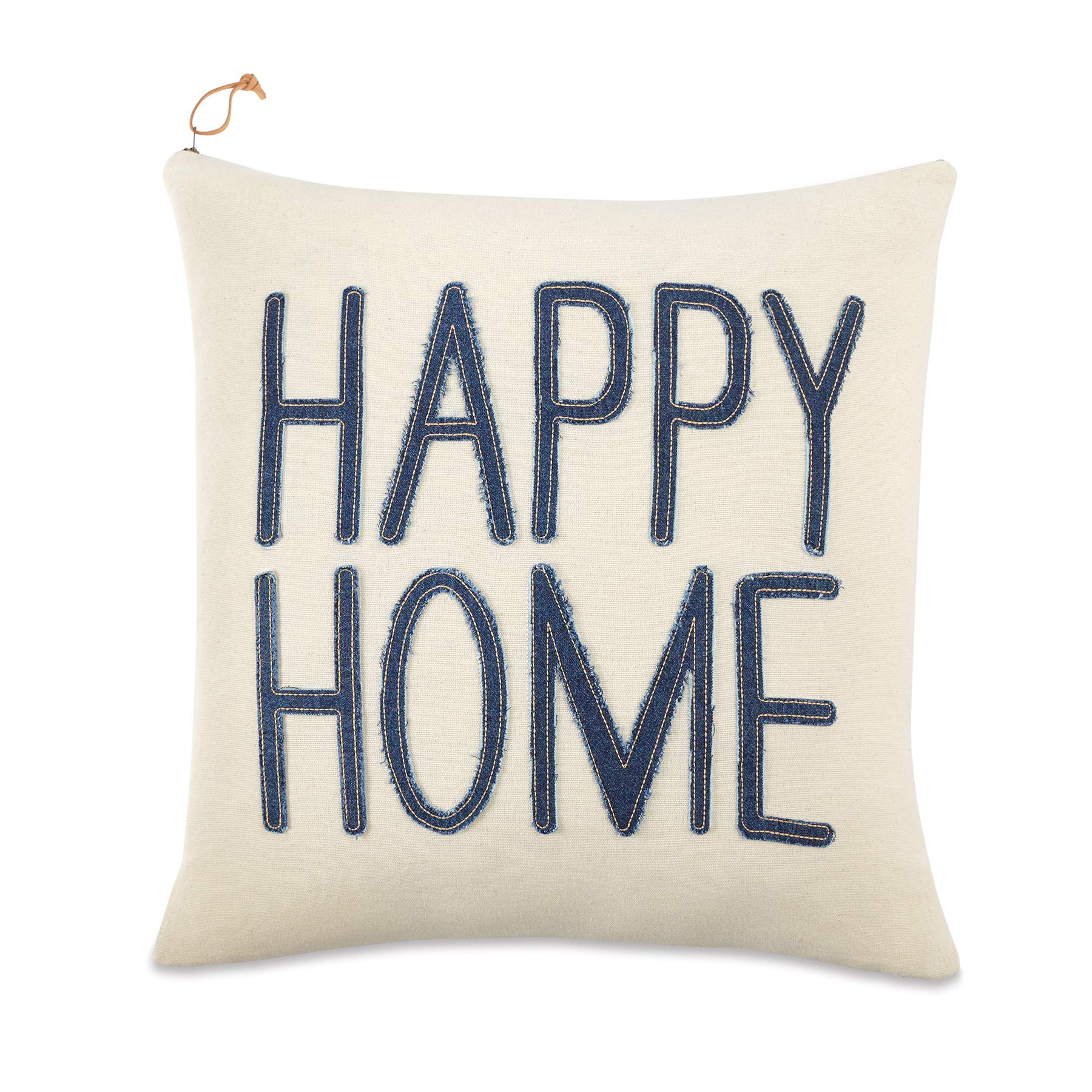 "Mud Pie White Jean Denim Happy Home 18"" Square Accent Pillow Blue"