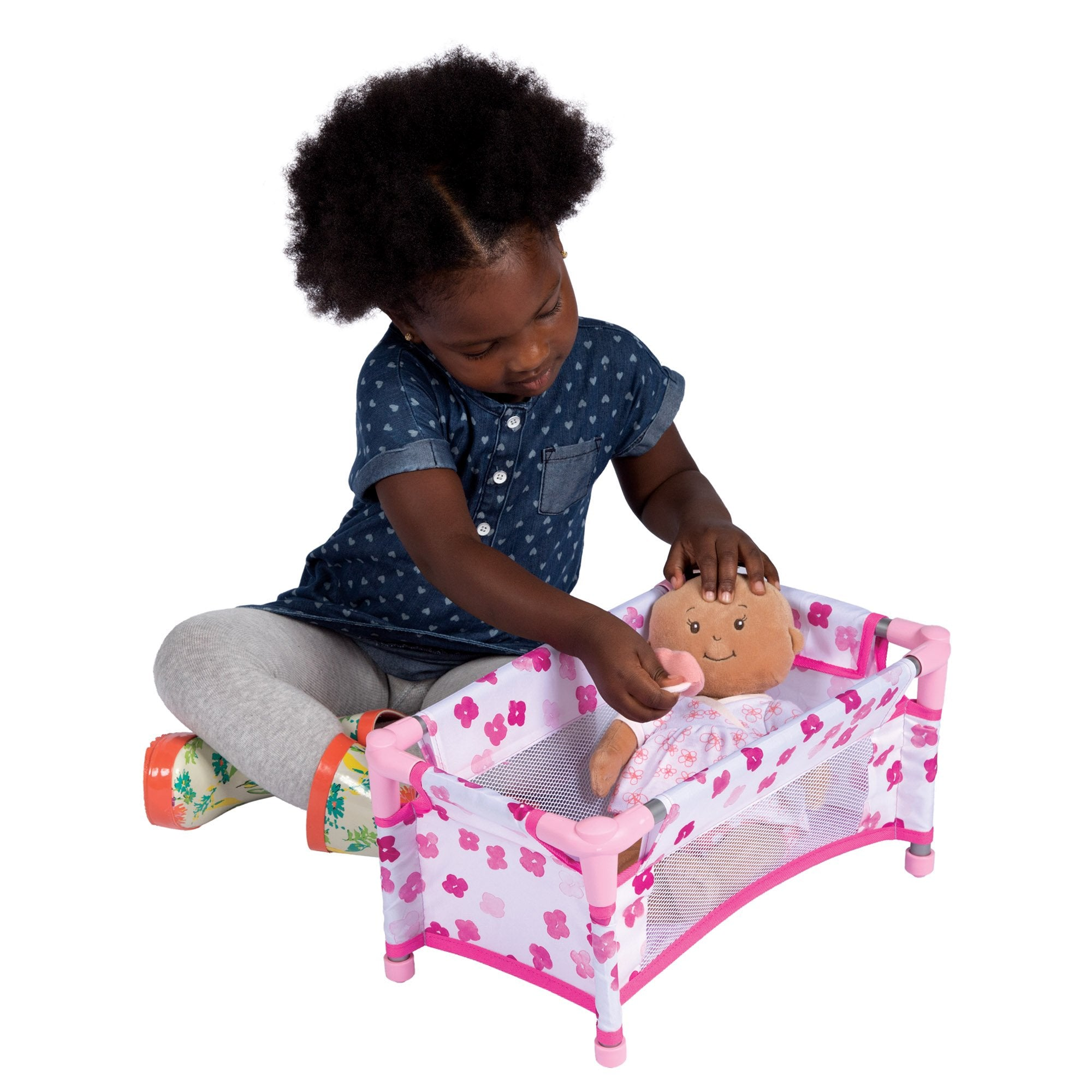"Manhattan Toy Baby Stella Take Along Baby Doll Crib Accessory Set for 12"" and 15"" Soft Dolls"