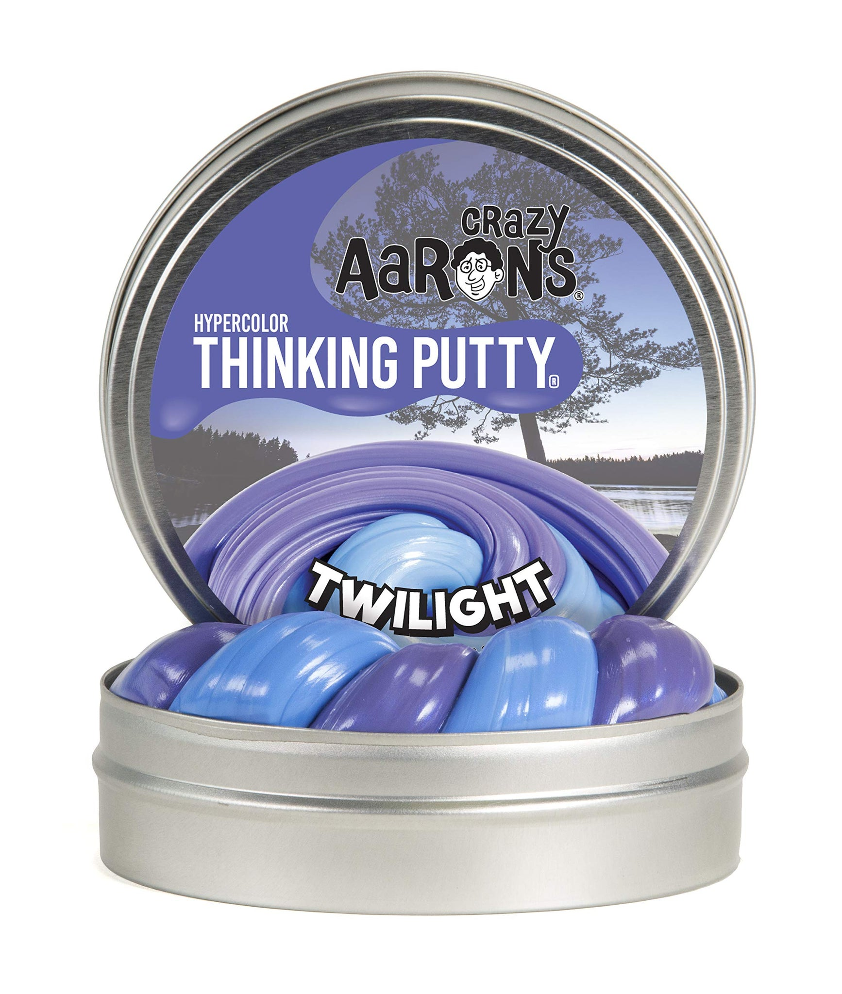 "Crazy Aaron's Thinking Putty 4"" Tin - Hypercolor Twilight - Color Changing Putty, Firm Texture - Never Dries Out"