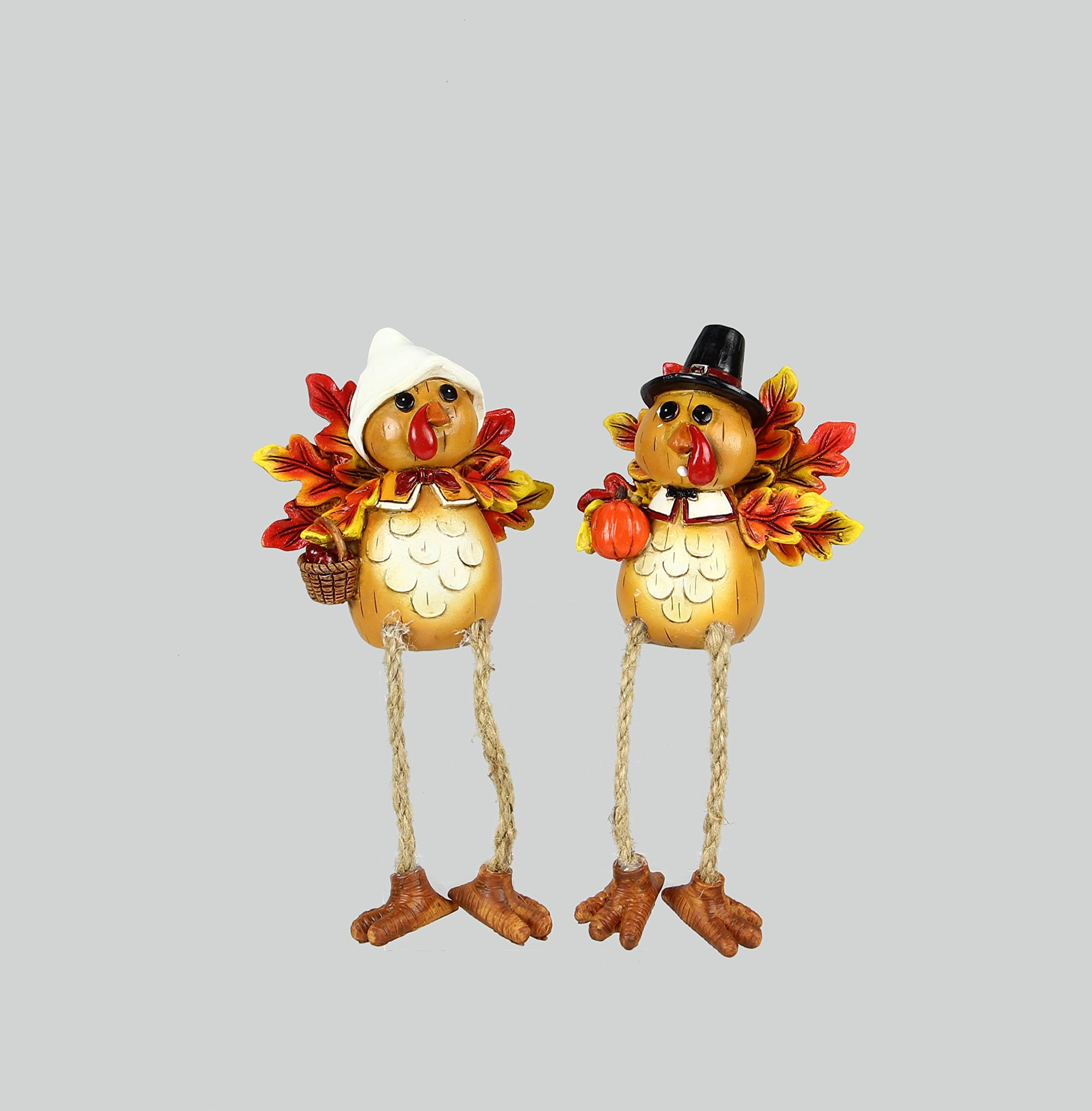 Youngs Fall Decor - Mr. and Mrs. Pilgrim Turkey Shelf Sitter 2pc