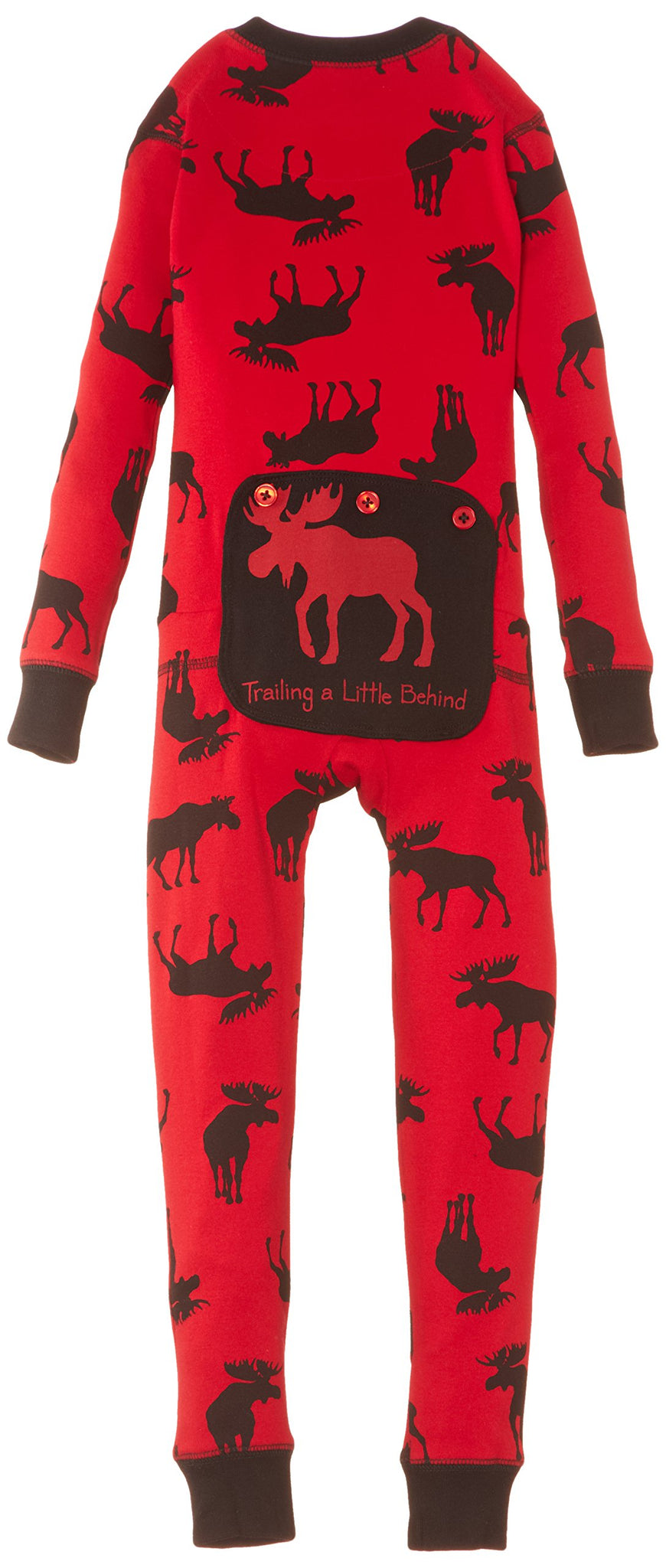 Little Blue House by Hatley Unisex Kid's Big Union Suit, Moose On Red, 10 Years