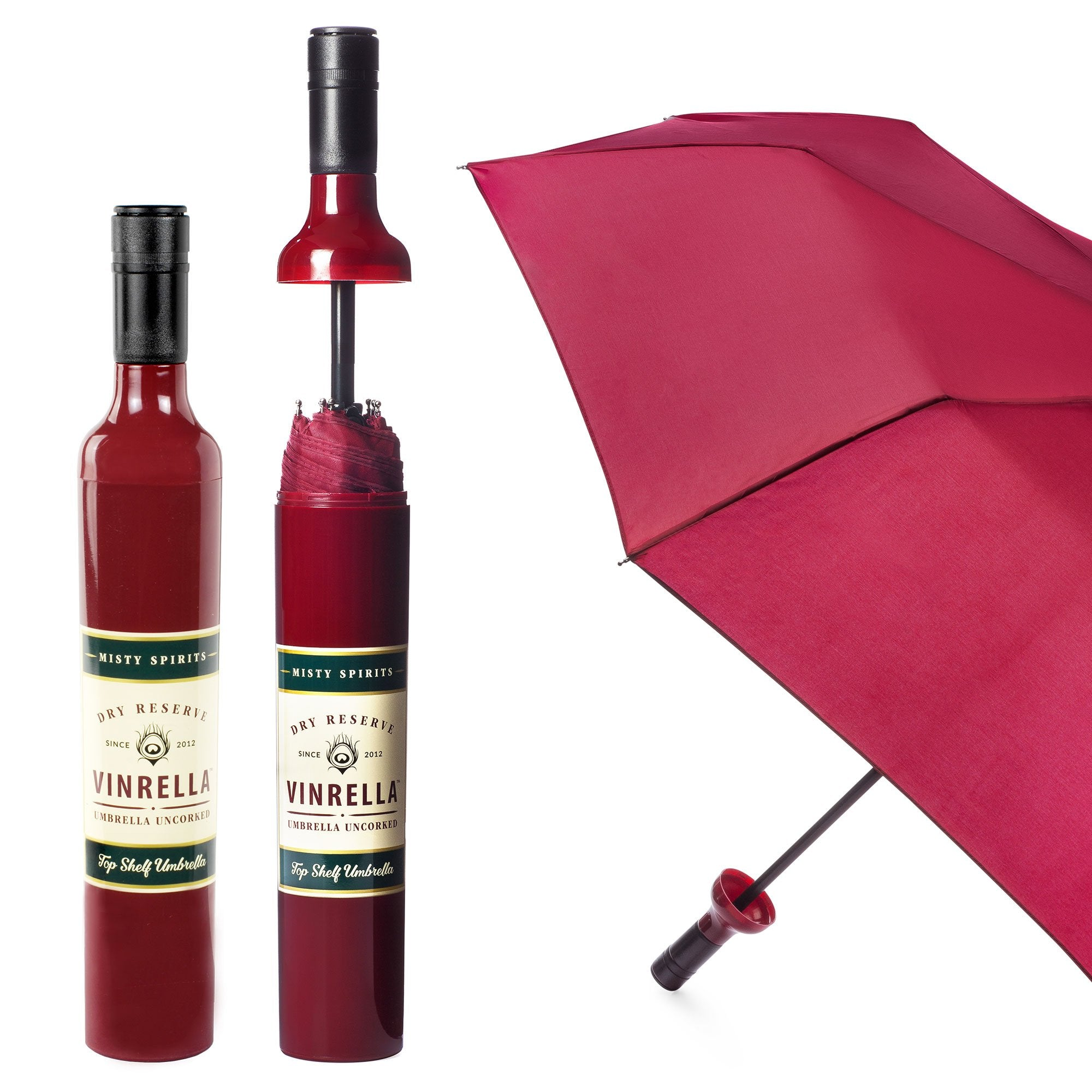 VINRELLA Wine Bottle Umbrellas, Reserve Burgundy
