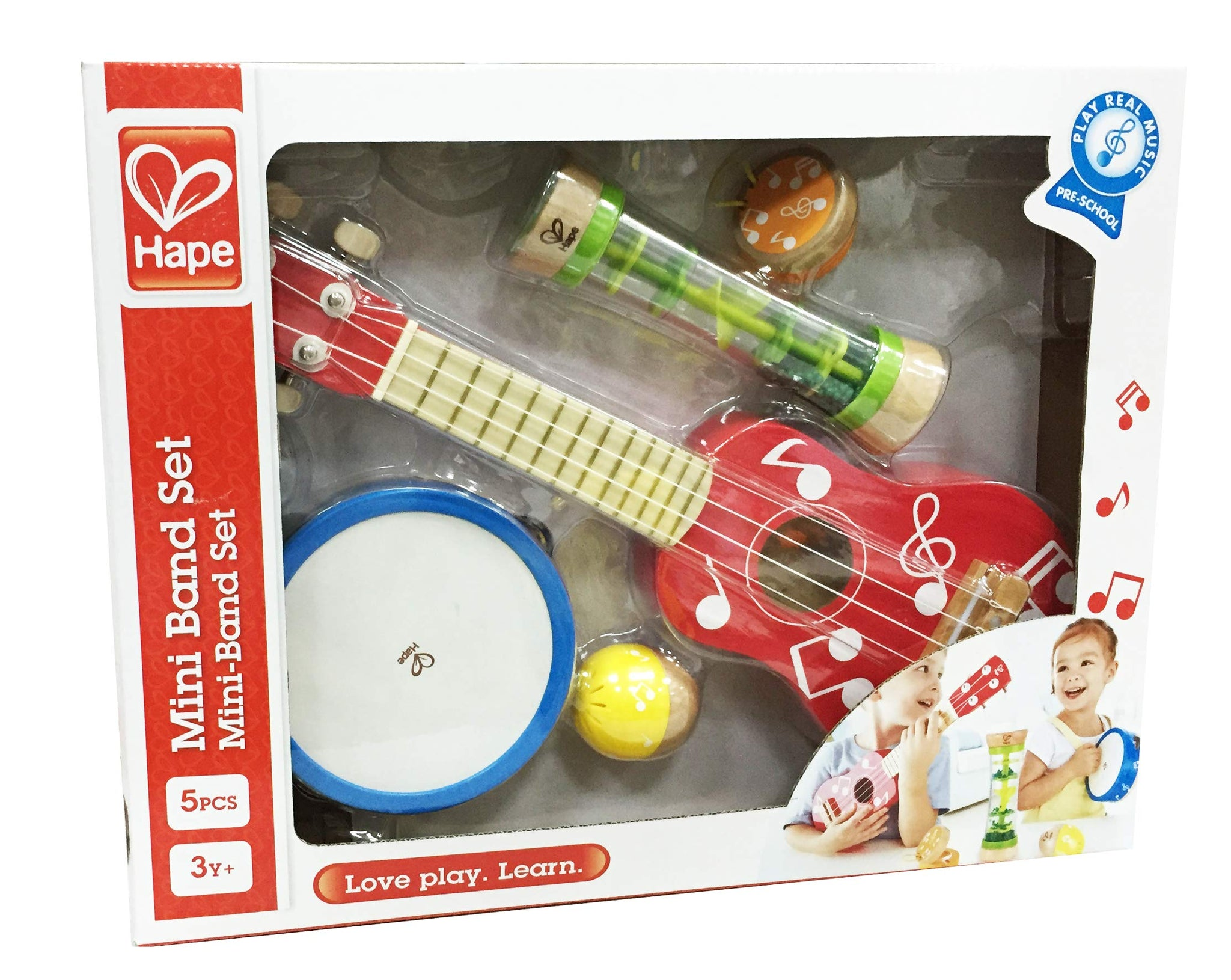 Hape Mini Band Instrument Set | Five Piece Wooden Instrument Music Set for Kids Includes Ukulele, Tambourine, Clapper, Rattle and Rainmaker