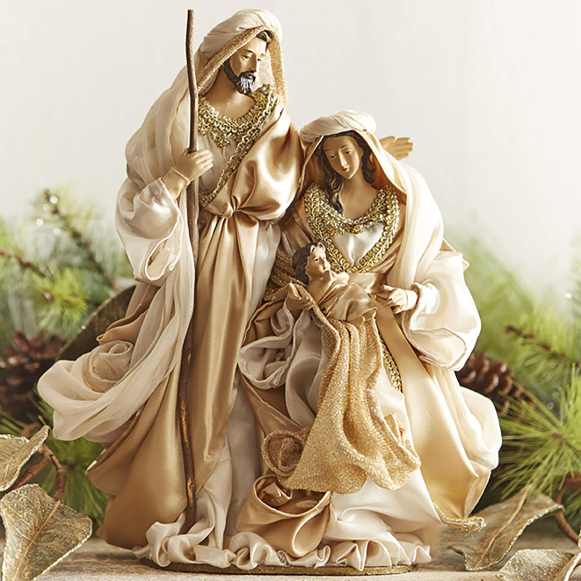 Creamy White Champagne Goldtone Holy Family 12 inch Satin Decorative Tabletop Figurine