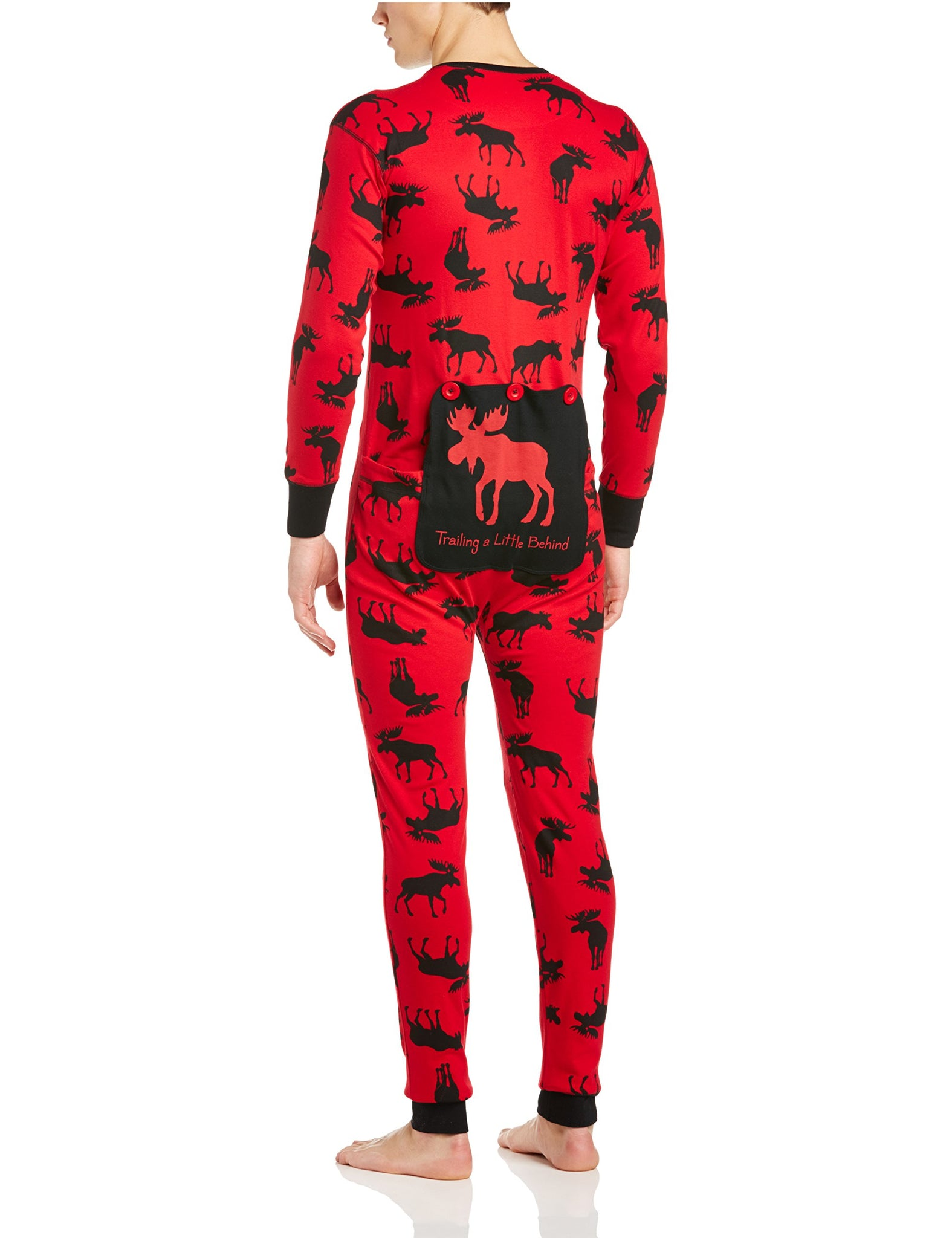 Little Blue House by Hatley Unisex-Adults Union Suits, Mouse on red/Trailing a Little Behind, Small