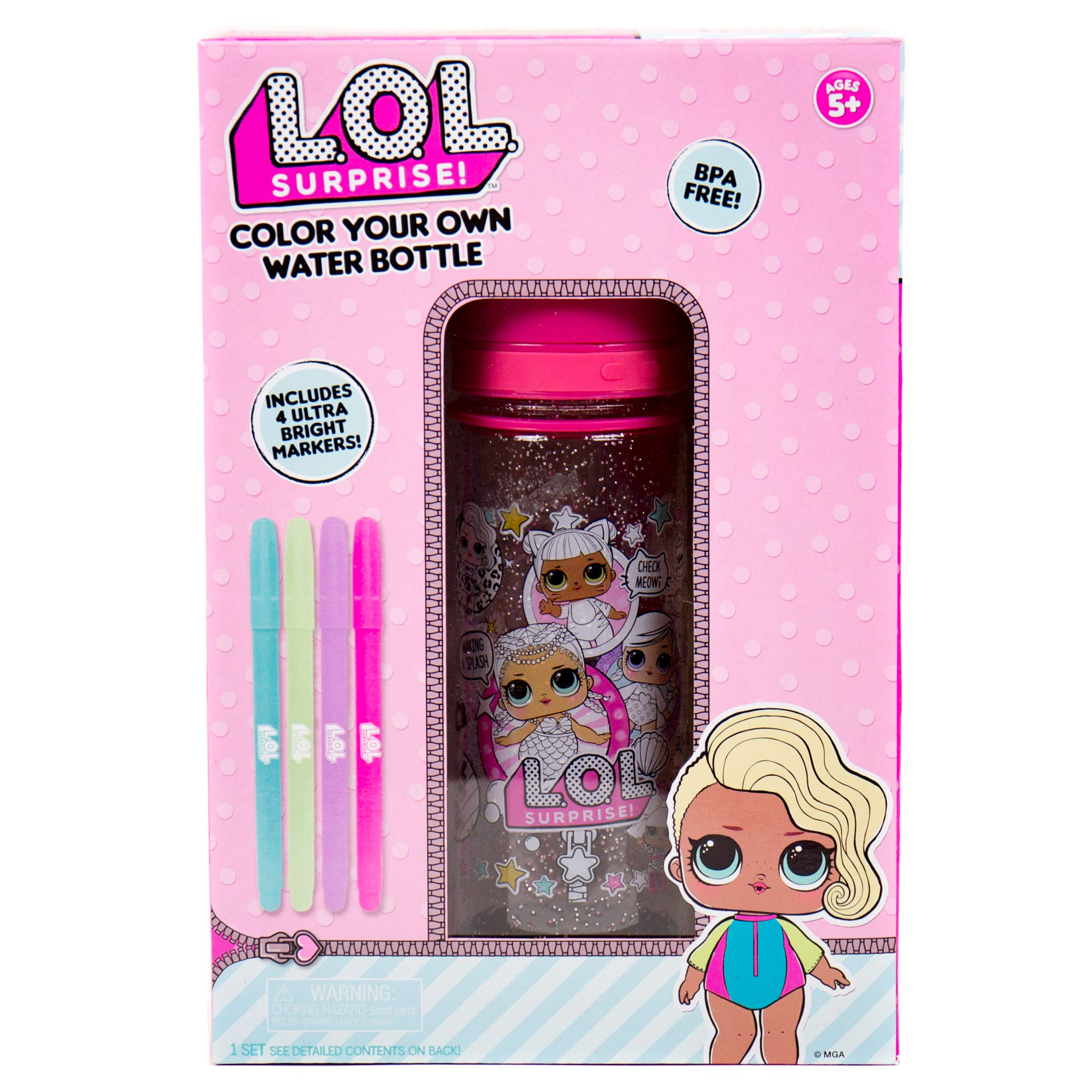 L.O.L. Surprise! Color Your Own Water Bottle by Horizon Group USA