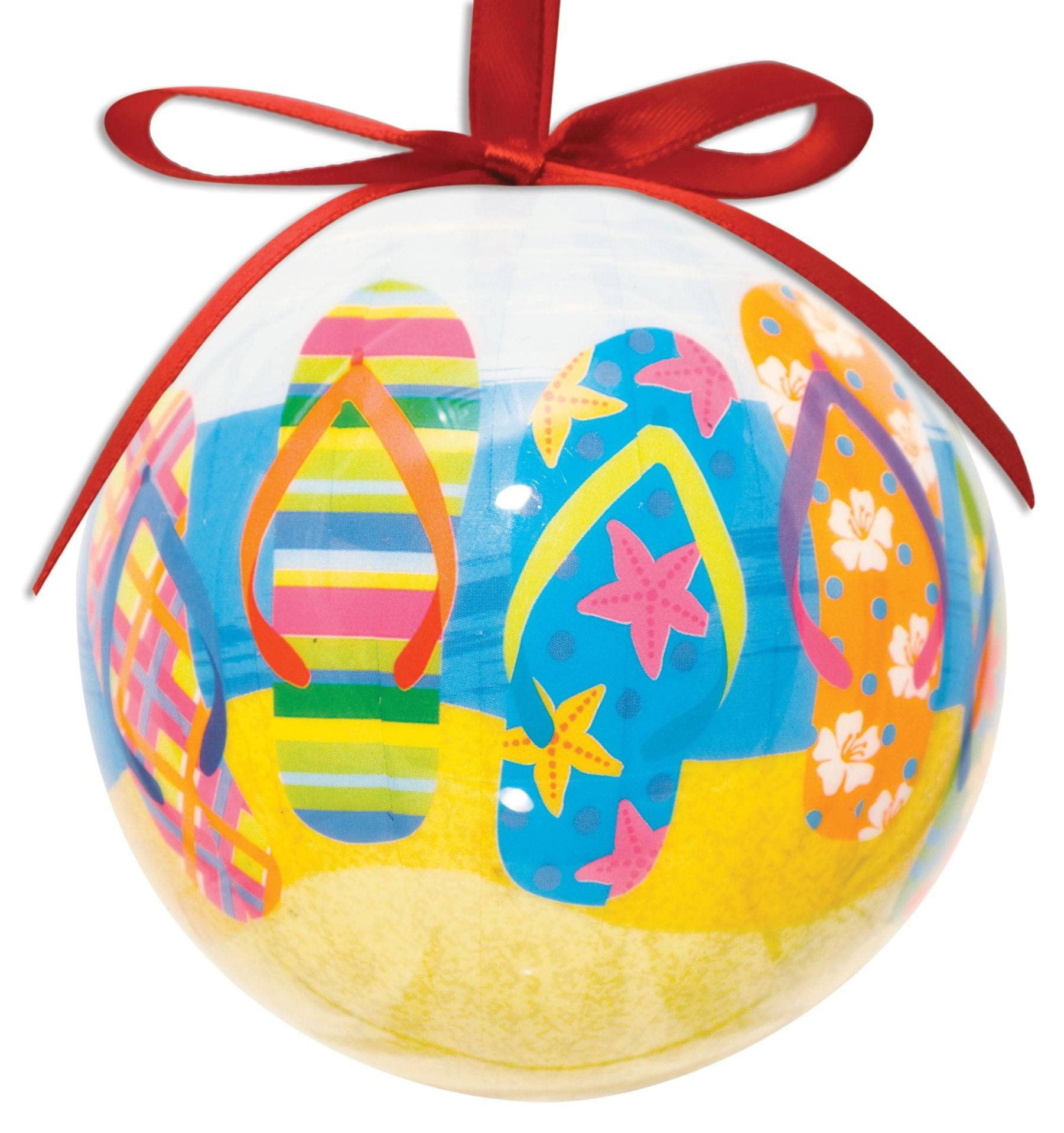 Cape Shore Flip Flop Design Hanging Ball Ornament High Gloss Resin