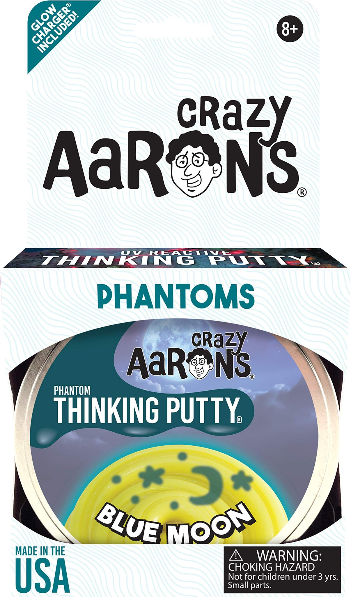 "Crazy Aaron's Thinking Putty 4"" Tin - Phantoms Blue Moon - Glowing Sparkle Glow Putty, Soft Texture - Never Dries Out"