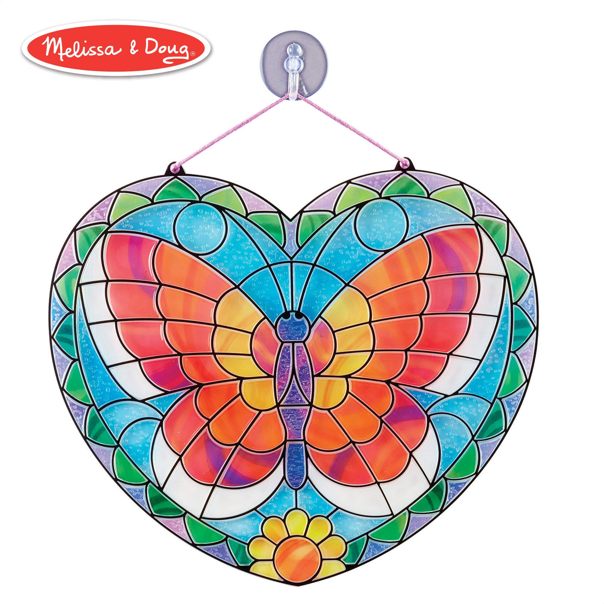 "Melissa & Doug Stained Glass Made Easy Activity Kit, Arts and Crafts, Develops Problem Solving Skills, Butterfly, 140+ Stickers, 10.5"" H x 10"" W x 0.25"" L, Multi-color"