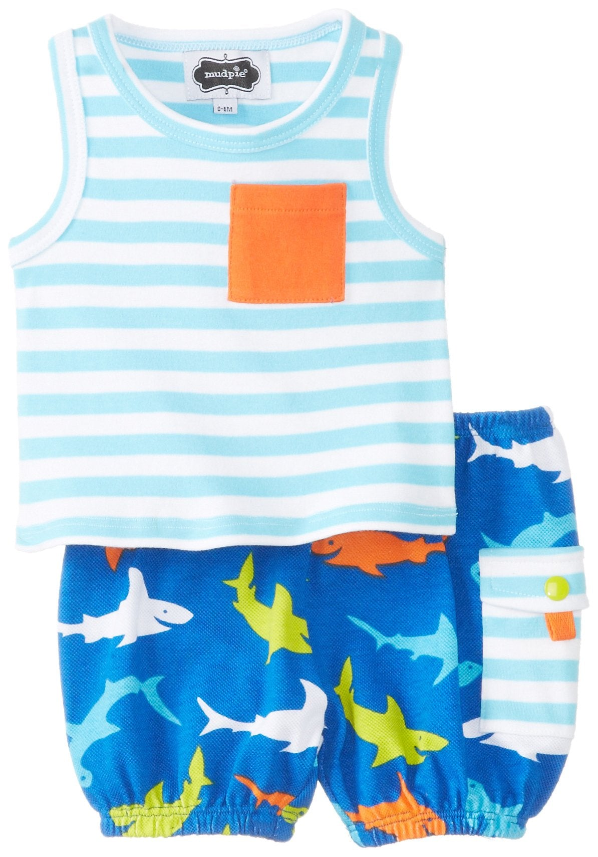 Mud Pie Boys' Baby Newborn Shark Tank and Diaper Cover Set, Multi, 0-6 Months