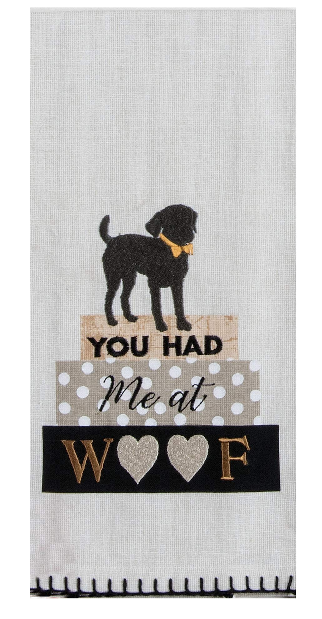 "Kay Dee Designs Woof Embroidered Tea Kitchen Towel, 18"" x 28"", Various"