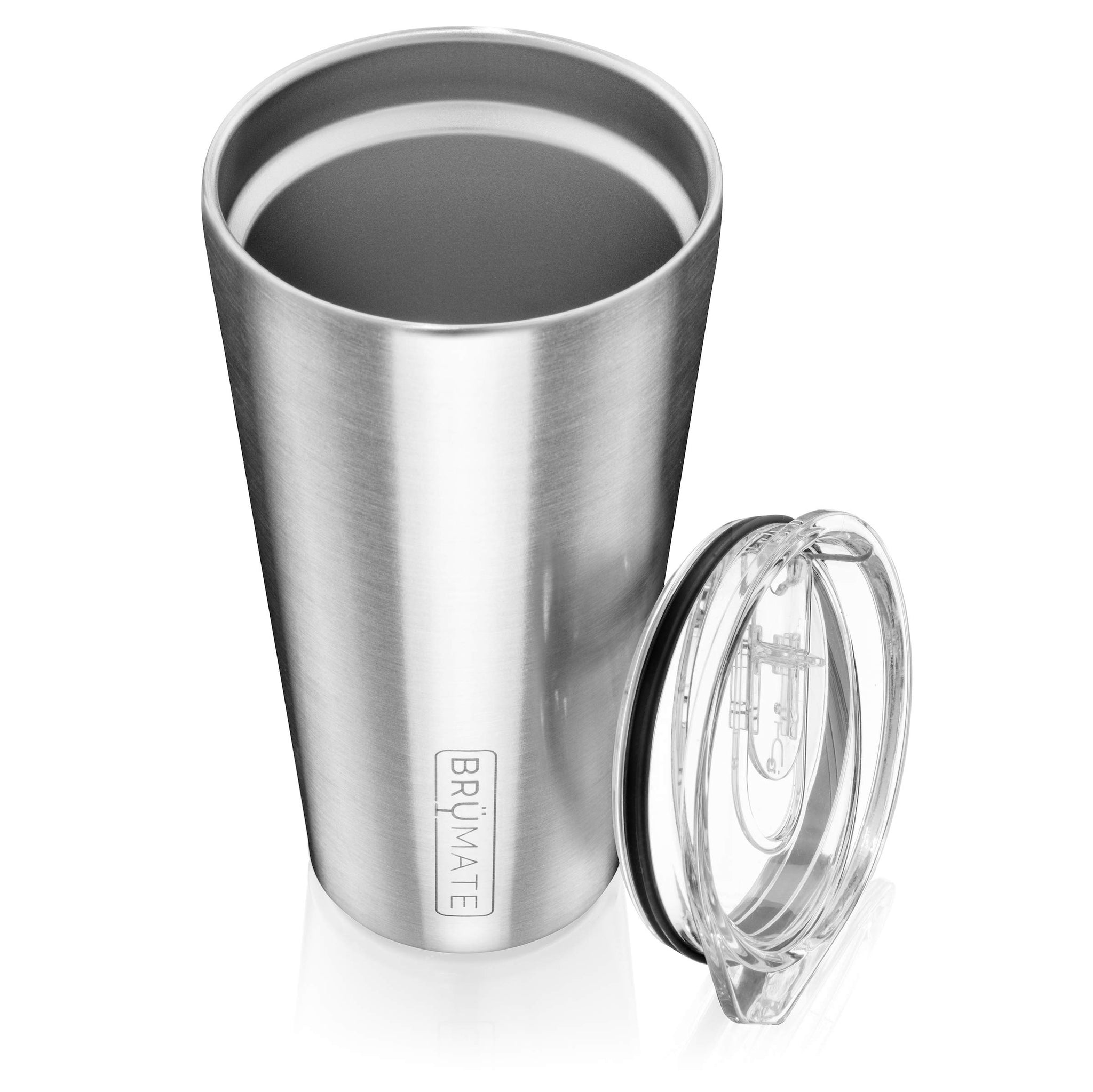 Brümate Imperial Pint 20oz Shatterproof Double Wall Vacuum Insulated Stainless Steel Travel & Camping Mug for Beer, Cocktails, Coffee & Tea with Splash-Proof Lid for Men & Women (Glitter White)