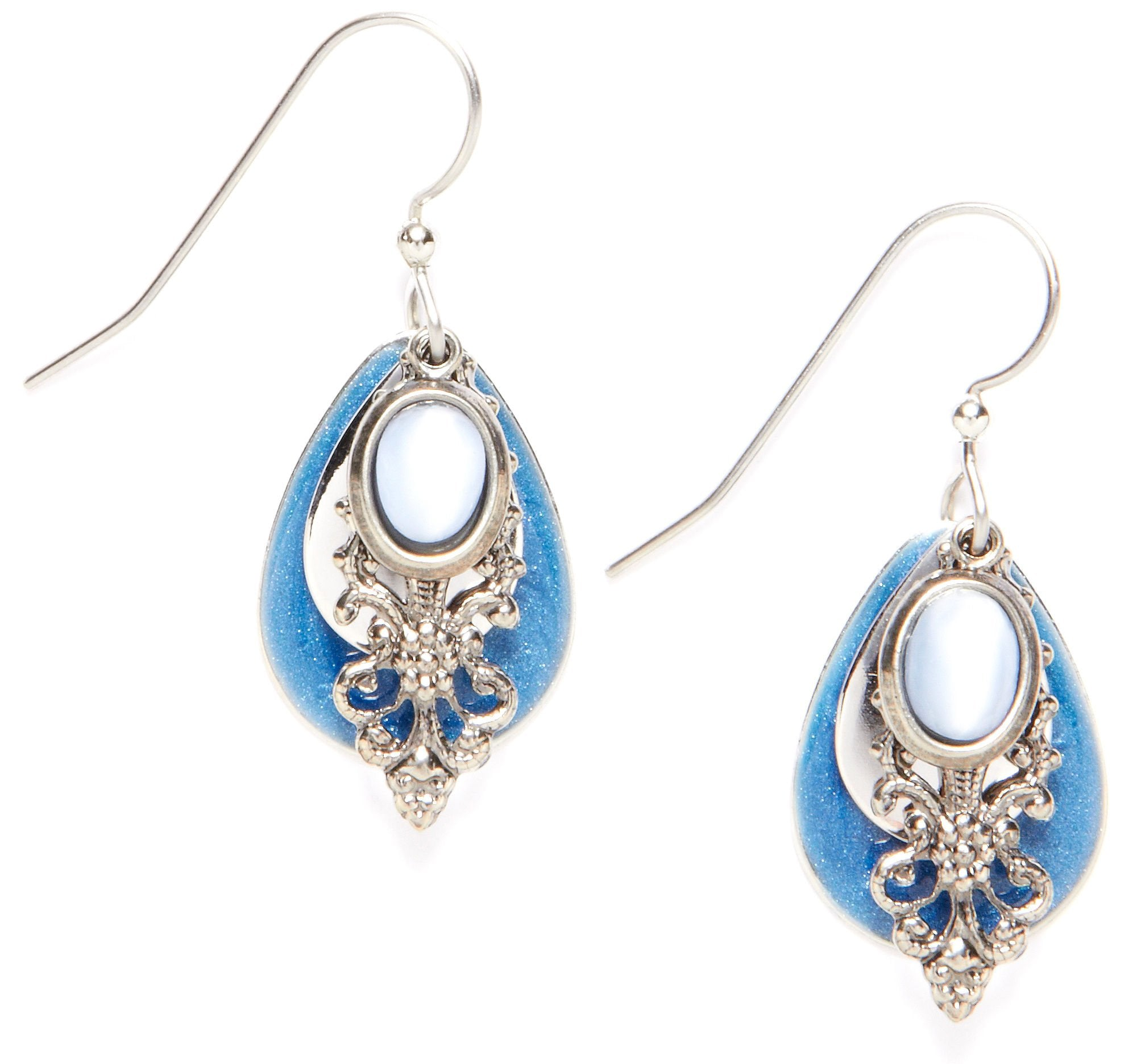 Silver Forest Blue Filigree Teardrop Earrings One Size