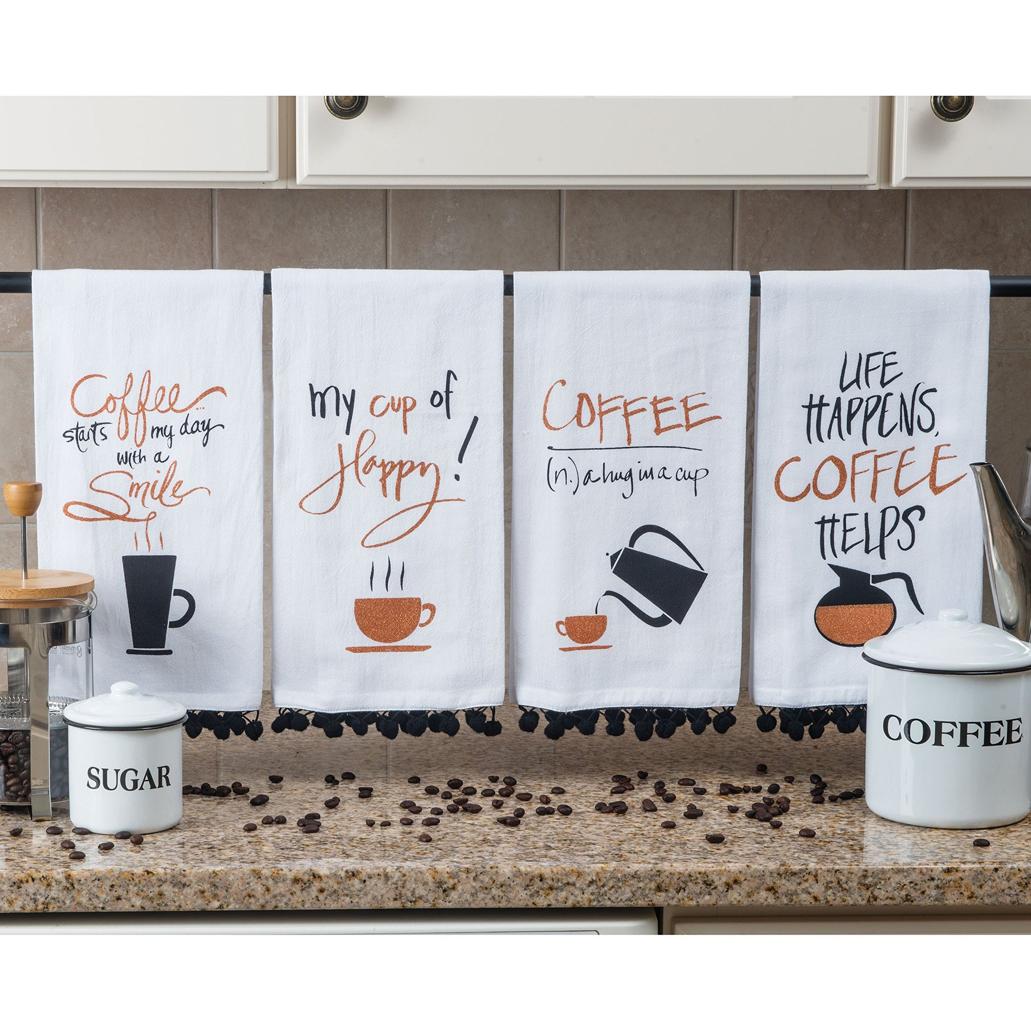 Kay Dee Designs Coffee Glitter Assorted Flour Sack Towels