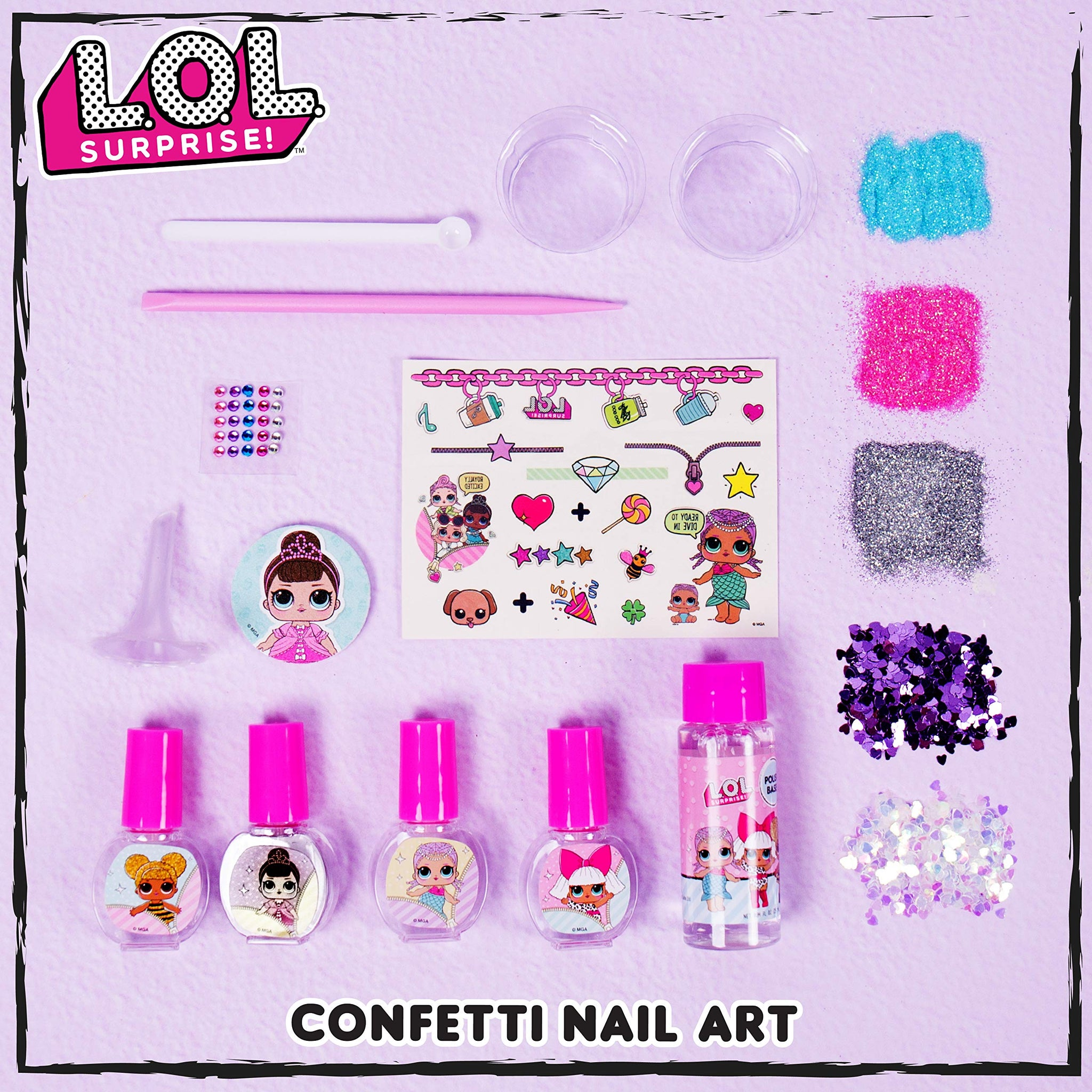 L.O.L. Surprise! Confetti Nail Art by Horizon Group USA, Make Your Own Nail Polish by Adding Glitter, Confetti, Gemstones & More