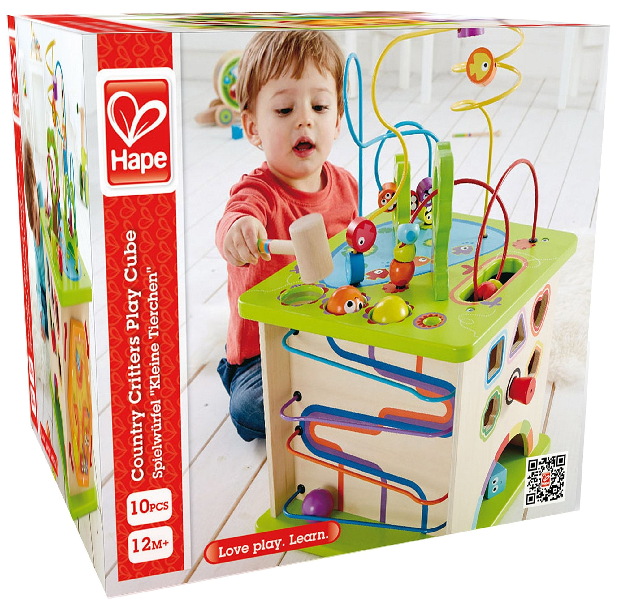 Country Critters Wooden Activity Play Cube by Hape | Wooden Learning Puzzle Toy for Toddlers, 5-Sided Activity Center with Animal Friends, Shapes, Mazes, Wooden Balls, Shape Sorter Blocks and More