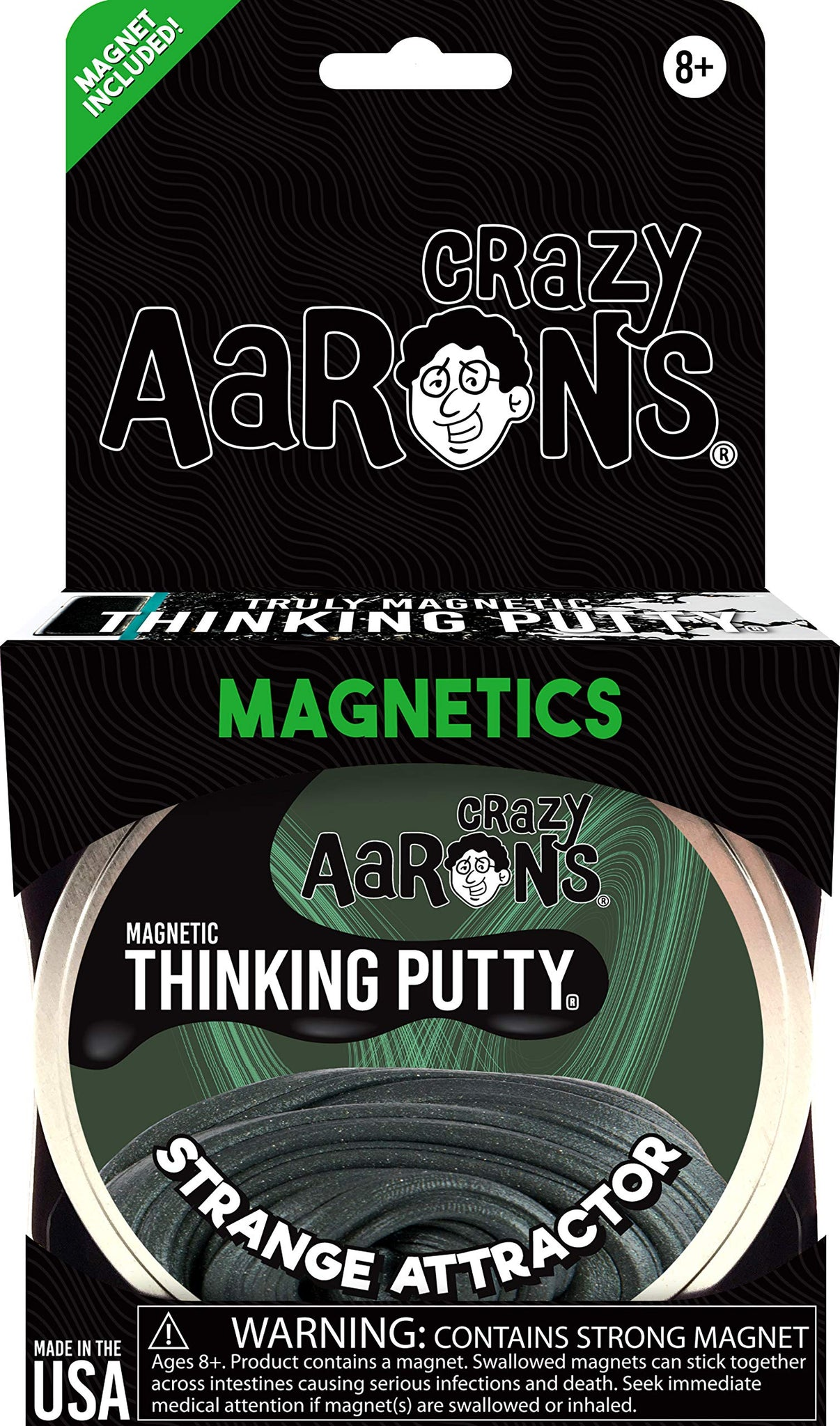 "Crazy Aaron's Thinking Putty 4"" Tin - Strange Attractor - Magnetic Putty with Memory Effect, Soft Texture - Never Dries Out"