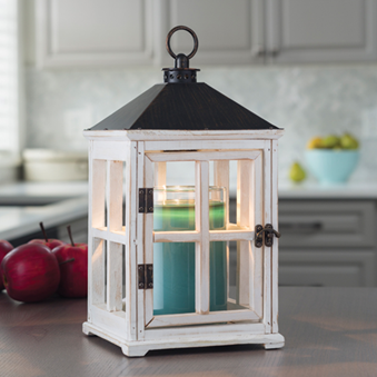 Candle Warmers Weathered White Wooden Lantern