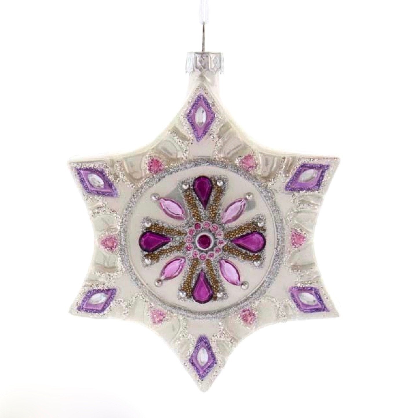Royal Purple Snowflake Glass Ornament