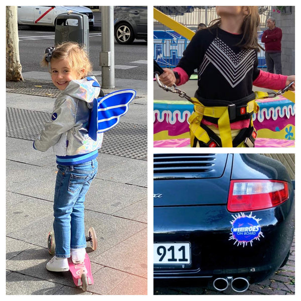 Fan photos of happy children wearing WEEROES jacket and sweatshirt and Porsche sports car with WEEROES sticker on