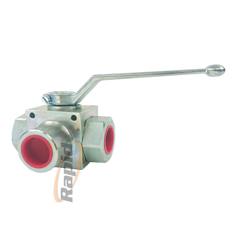 Ball Valve, 3 Way L port, 3/8 BSPP, 35 lpm, 400Bar