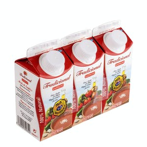 Gazpacho tradicional Hacendado 3 mini bricks x 330 ml