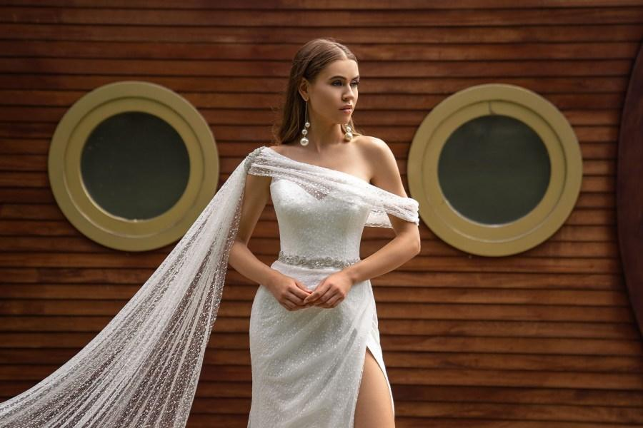 Lara wedding dress is made of glitter fabric emphasizing the look - KC Haute Couture Wedding Dress