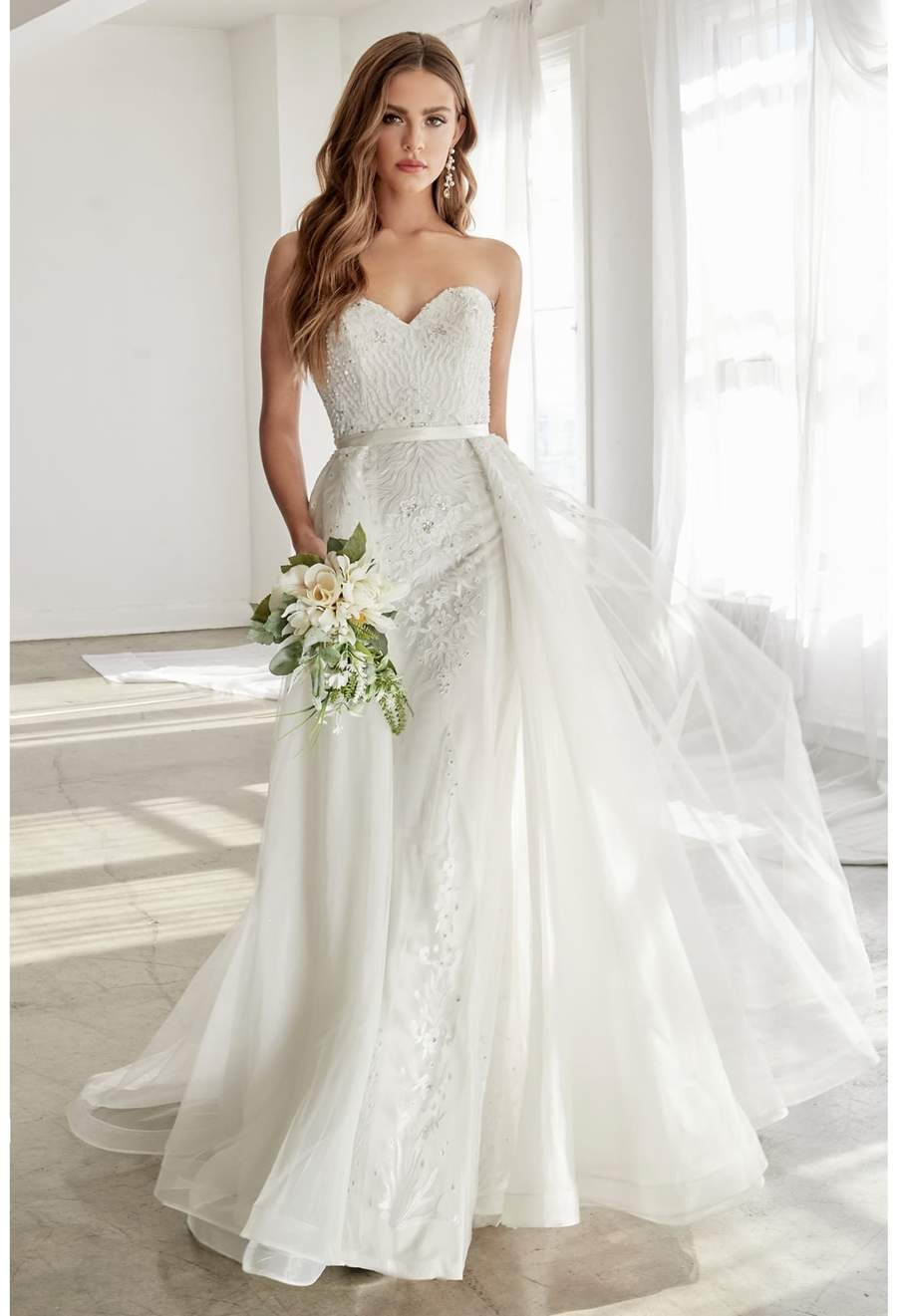 Tricia, Strapless gown with jeweled lace details and detachable tulle overskirt - KC Haute Couture Wedding Dress