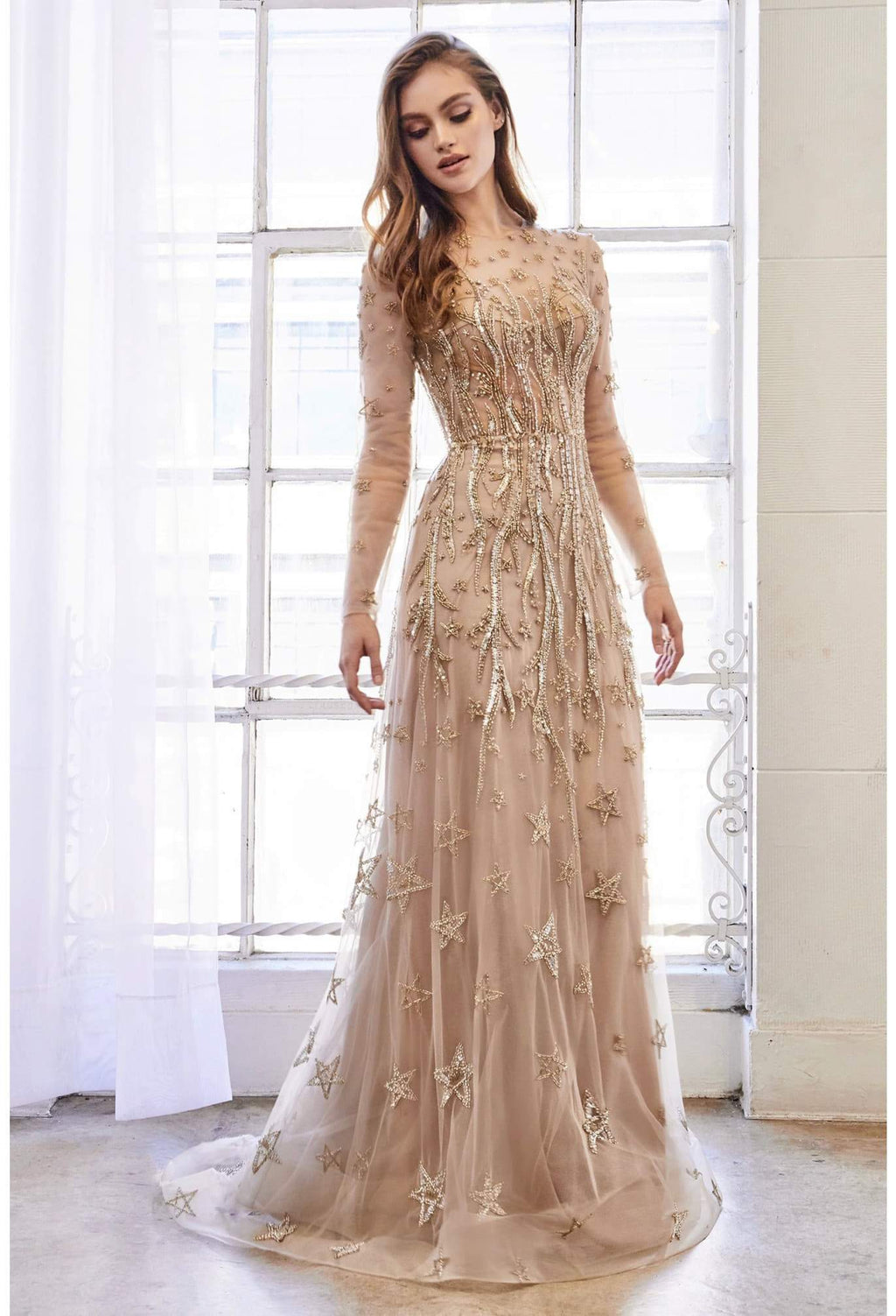 ESTELLE GOWN LONG SLEEVE FULLY BEADED CONSTELLATION A-LINE GOWN