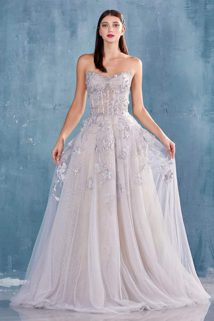 ELIZE GOWN STRAPLESS ETHEREAL GARDEN TULLE BALL GOWN - KC Haute Couture Wedding Dress