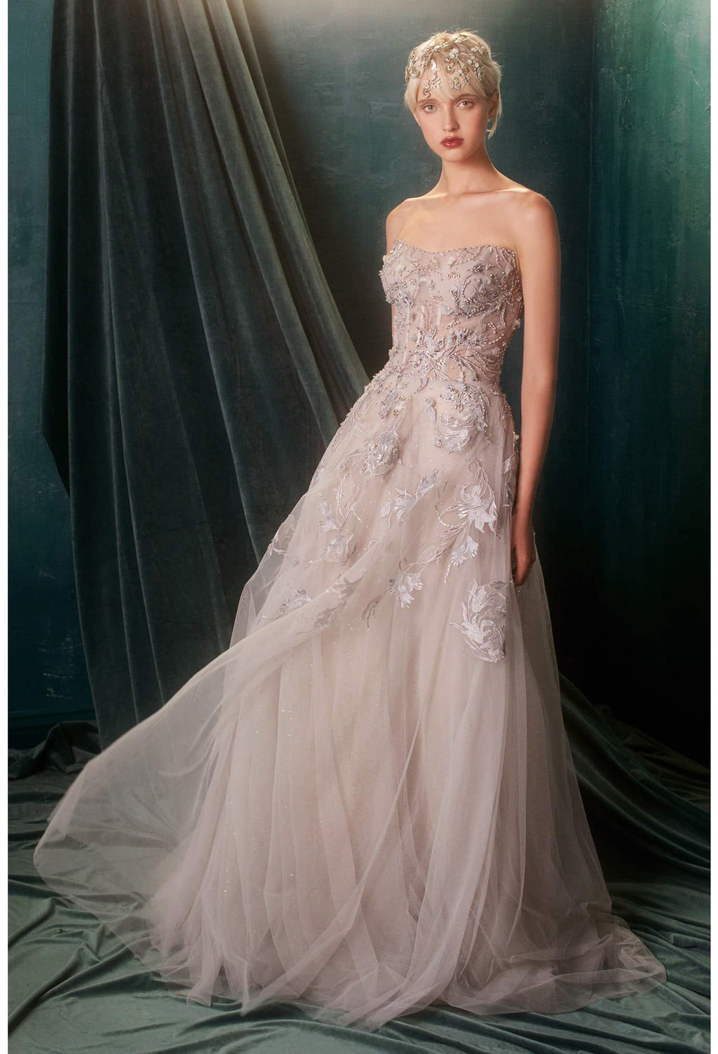 STRAPLESS ETHEREAL GARDEN TULLE BALLGOWN