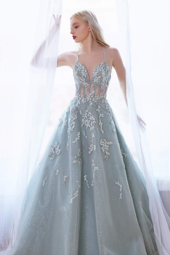 SOPHIA GOWN DANCING FLORAL EMBROIDERED AND GLITTER BALL GOWN - KC Haute Couture Wedding Dress