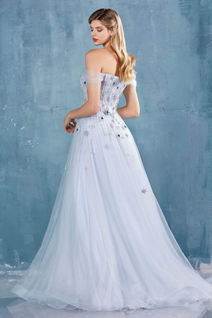 CALYPSO GOWN OFF THE SHOULDER STARS TULLE A-LINE GOWN - KC Haute Couture Wedding Dress