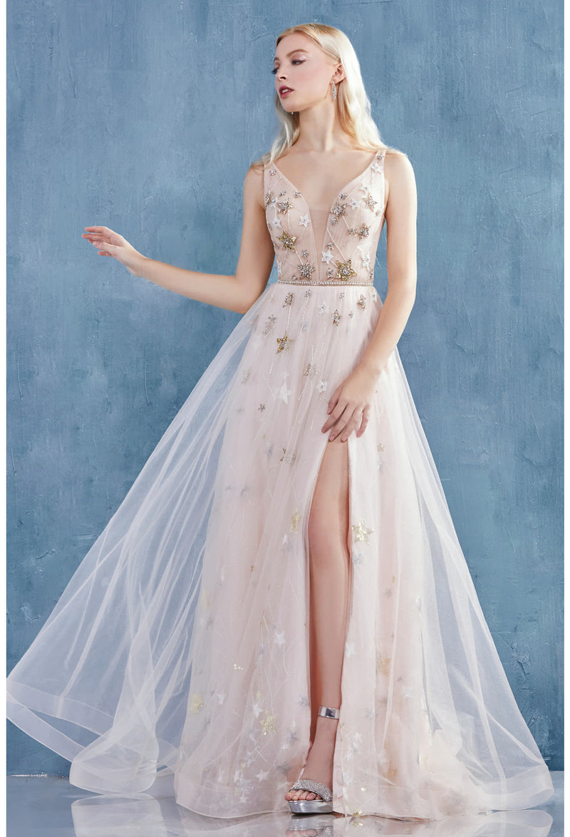 GABRIELLE STARRY BEADED V-NECKLINE TULLE A-LINE GOWN WITH LEG SLIT - KC Haute Couture Wedding Dress