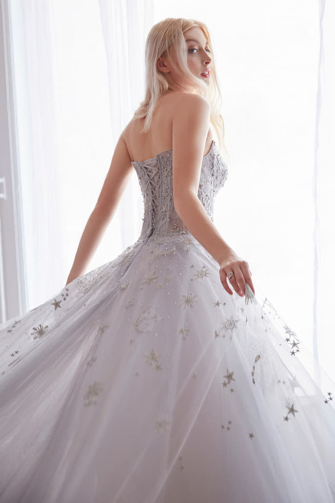 SELENE GOWN CONSTELLATION DREAM SWEETHEART EMBROIDERED BALL GOWN - KC Haute Couture Wedding Dress
