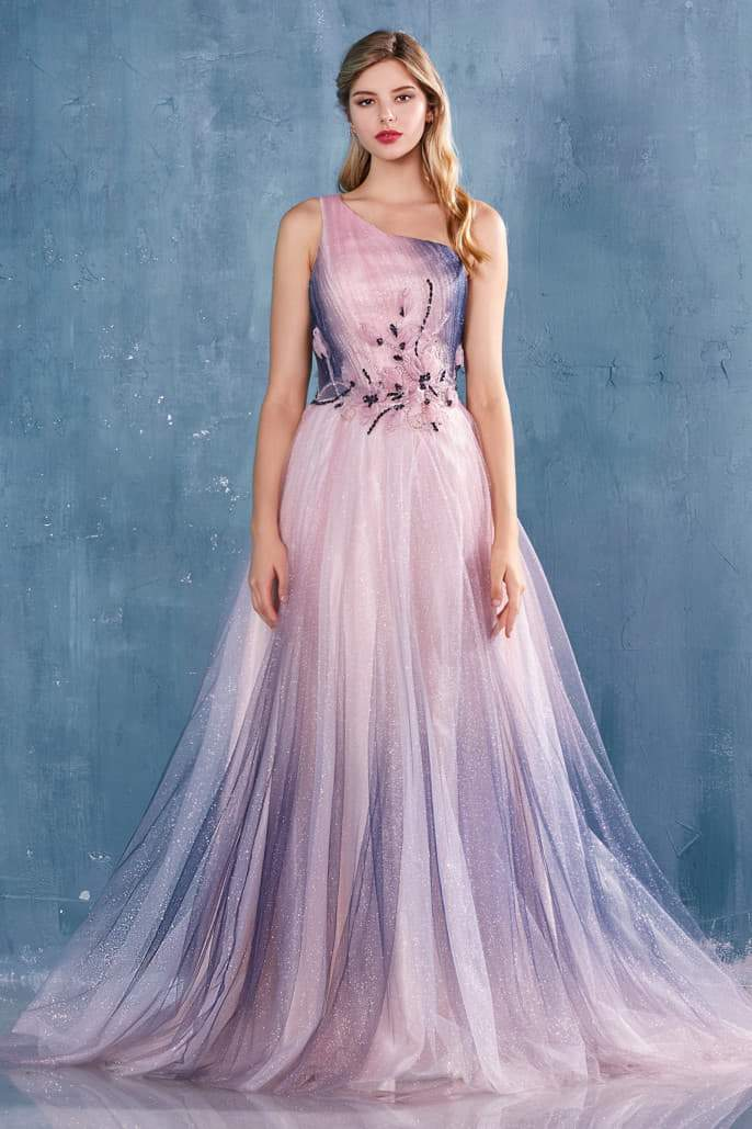CORINA GOWN ONE SHOULDER GATHERED OMBRE TULLE A-LINE