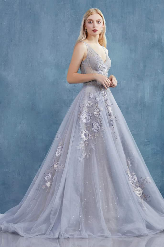 LILIAN GOWN A DRAMATIC V-NECK TULLE BALL GOWN WITH BEADED LACE DETAILS - KC Haute Couture Wedding Dress