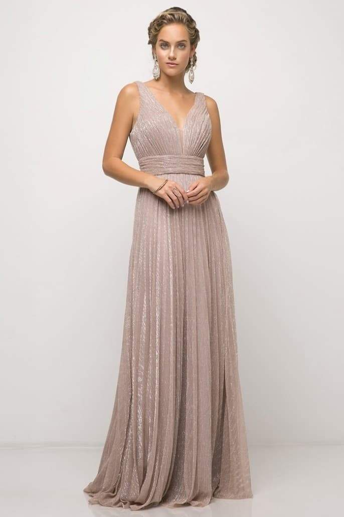 Courtney, A-line metallic wedding dress with pleats and deep neckline - KC Haute Couture Wedding Dress