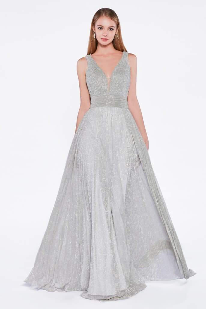 A-line metallic dress with pleats and deep neckline - KC Haute Couture Wedding Dress
