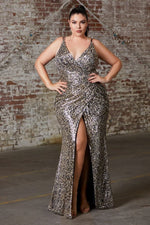 Fitted sequin gown with gathered waist, criss cross back and leg slit - KC Haute Couture Wedding Dress
