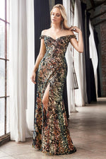 Off the shoulder sheath dress with iridescent sequin finish and leg slit - KC Haute Couture Wedding Dress